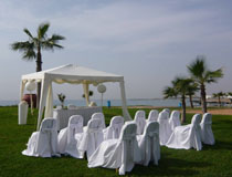 The wedding gazebo at Adams Beach Hotel