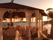 A wedding reception at sunset at Nissi Beach Hotel