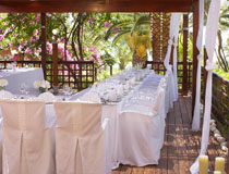 Wedding reception set up at Nissi Beach