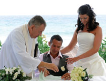 Wedding couple at Nissi Beach