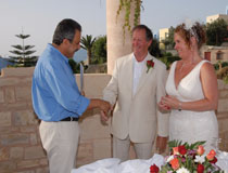 Mr & Mrs Tickle on their wedding day at Rethymno Mare Royal Hotel