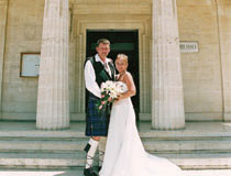 Mr & Mrs Reid in front of Paphos Town Hall