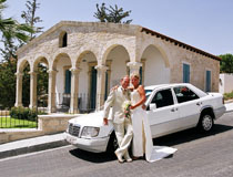 Couple in front of Agios Athanasios, Limassol