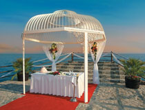 The wedding dome on the pier at Elias Beach