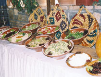 Food display at a taverna in Elounda, Crete