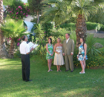 Mr & Mrs Stock renewing their wedding vows at the Lindos Mare Hotel, Rhodes, in the company of their two gorgeous daughters