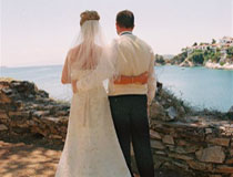 Wedding couple at Aegean Suites