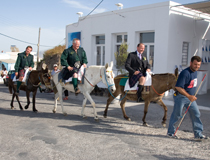 Groom arriving by donkey, Santorini