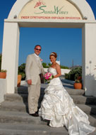Mr & Mrs Chatwin on their wedding day in Santorini