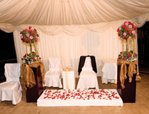 The gazebo at the Golden Bay Hotel can be lavishly decorated as shown here